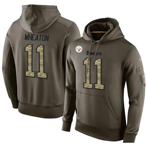 NFL Men's Nike Pittsburgh Steelers #11 Markus Wheaton Stitched Green Olive Salute To Service KO Performance Hoodie
